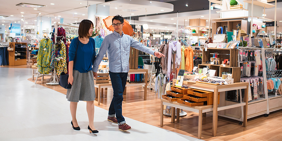 Couple shopping in a department store together.